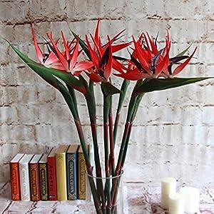 Artificial and Dried Flower Artificial Flower Bird of Paradise Fake Plant Silk Strelitzia Reginae Home Decor Artificial & Dried Flowers – ( Color: Red )
