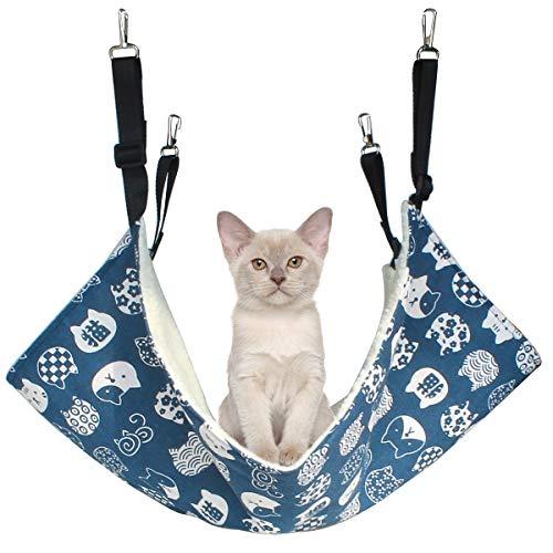 Alien Pet ハンモック 猫 ケージ 椅子の下用 両面使用 昼寝 日向ぼっこ 冬夏兼用 大型 耐荷重 10KG(ブルー)
