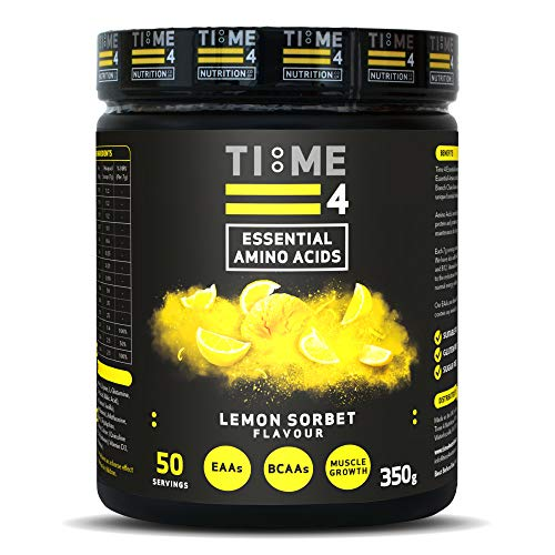 Time 4 Essential Amino Acids 350g 50 Servings - Plant Based EAA Formula + Branch Chain Amino Acids, Glutamine, AstraGin, Vitamin D, Vitamin B6 & Vitamin B12 (Lemon Sorbet)