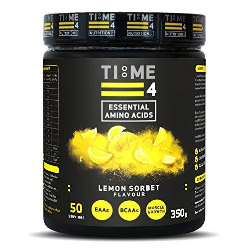 Time 4 Essential Amino Acids 350g 50 Servings - Plant Based EAA Formula + Branch Chain Amino Acids, Glutamine, AstraGin, Vitamin D, Vitamin B6 & Vitamin B12 (Lemon Sorbet)