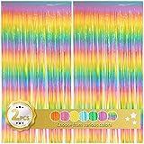 Cortina de flecos multicolor con diseño de arco iris, telón de fondo metálico para fiestas de cumpleaños, boda, compromiso, graduación o despedida de soltera (2 unidades, 3,3 x 6,3 pies)