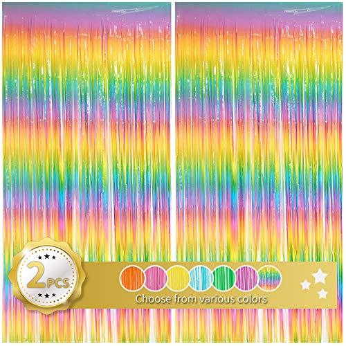 Cortina de flecos multicolor con diseño de arco iris, telón de fondo...