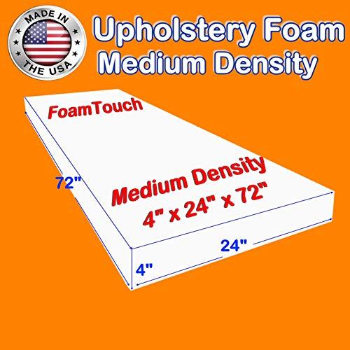 "FoamTouch Upholstery Foam Cushion Medium Density 4"" Height x 24"" Width x 72"""