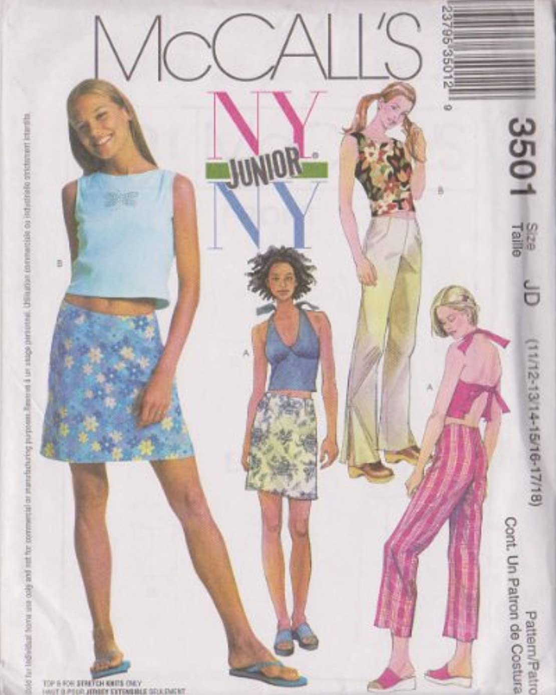 Junior's Tops, Low Rise Pants In Two lengths And Skirt McCall's Junior Sewing Pattern 3501 (Size JD: 11/12-13/14-15/16-17/18)