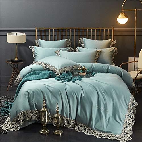 Bettwäsche Set,Amerikanische Licht Luxus Spitzen Baumwolle Grün Four-Piece Satz Home Textile Bettbezug Bettbezug Und Kopfkissenbezug, 1.5/1.8M