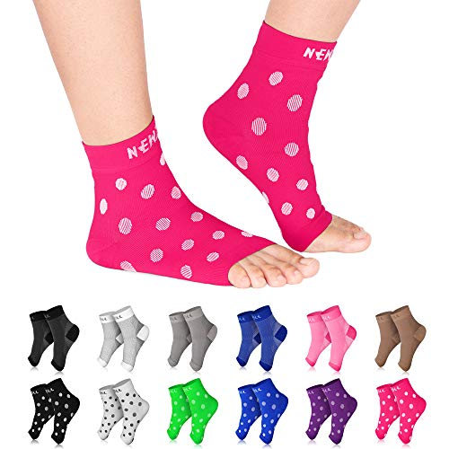 NEWZILL Plantar Fasciitis Socks with Arch Support, BEST 24/7 Foot Care Compression Sleeve, Eases Swelling & Heel Spurs, Ankle Brace Support, Increases Circulation (S/M, Pink w White Dots)