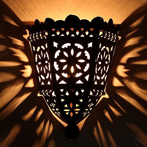 Orientalische Wandlampe 34x25 cm marokkanische Wandleuchte EWL10 | Eisen Wandstrahler | Prachtvolle Eisenlampe für tolle Lichteffekte wie aus 1001 Nacht