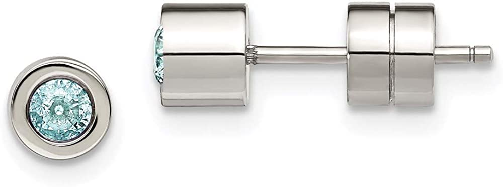 Stainless Steel Cubic Arlington Mall Zirconia Post Birthstone Cash special price Dec Earrings