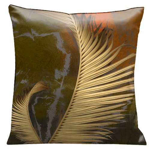 Lama Kasso Impressions Antique Gold Ferns on a Rich Olive Colored Micro-Suede 18-Inch Square Pillow, Design on Both Sides