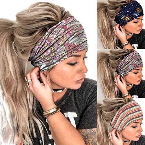 Sethexy Deportes Amplio Bandas para la cabeza Diseño de rayas de Venda ElásticoBanda 3 piezas Turbante Yoga Banda Para mujeres y niñas