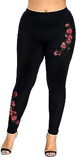 6493a948250a7e RUIVE Women's Yoga Pants Plus Size Floral Print Black Elastic Tights Ankle  Length Ladies Gym Sports