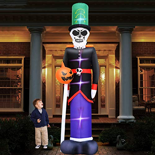 TURNMEON 12Ft High Halloween Inflatables Decor Blow Up Skull Skeletons Ghost Pumpkin Hold Wand Large Air Blow LED Light Halloween Holiday Decorations Outdoor Yard Lawn Garden Party with Tethers Stakes