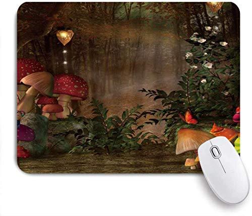 Gaming Mouse Pad rutschfeste Gummibasis, Pilzfee Dschungel Boho Laterne Busch Weg zur nebligen Waldmagie Mutter Erde Szene, für Computer Laptop Schreibtisch