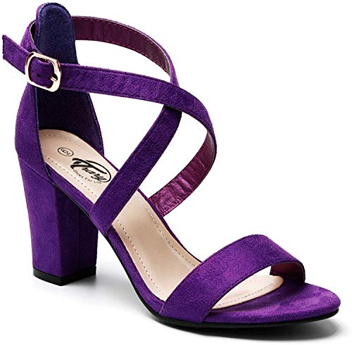 Trary Women's Ankle Strap and Adjustable Buckle Chunky Pump Heel Sandals Purple Suede 10