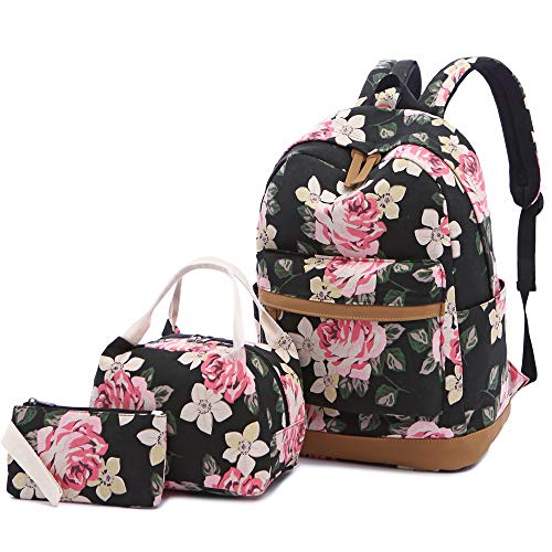 Sqodok Floral Backpack for Women College Girls, Lightweight Bookbag with Lunch Bag and Pencil Case, Canvas Travel Daypack 14' Laptop Bag Student Rucksack for School