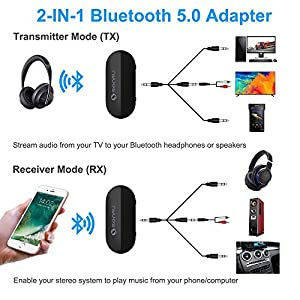 Bluetooth 5.0 Transmitter Receiver, SONRU 2-in-1 Wireless 3.5mm Aux Bluetooth Audio Adapter, AptX Low Latency Bluetooth Transmitter for TV PC Home Sound System Headphone,Dual Connection