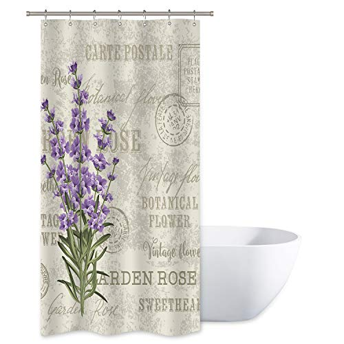 Riyidecor Lavender Vintage Shower Curtain Flowers Small Stall Floral Grunge Herbs Leaves Purple Beige Decor Fabric Polyester Waterproof Fabric 36x72 Inch 12 Pack Plastic Hooks