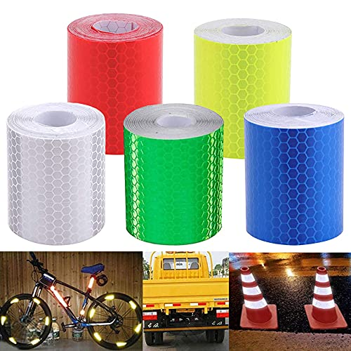NALCY 5 Piezas Cinta Reflectante Advertencia, Cinta Adhesiva de Advertencia de Seguridad, para Señalización de Seguridad de Banda, para Vehículos Remolques Cascos 3m * 5cm