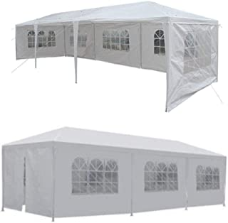 LordBee Canopy Gazebo Pavilion w/5 Walls Cover Outdoor Big Tent Wedding Party Heavy Duty Waterproof Up Cover Awning White Tarpaulin
