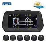 Lepeuxi Sistema di monitoraggio della pressione dei pneumatici Carica solare 6 modalità di allarme Smart 0.01 Display LCD a colori ad alta precisione con 6 sensori esterni per la pressione temperatura
