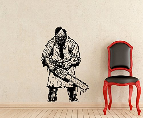 ResorDecals Leatherface Wall Decal Texas Chainsaw Massacre Horror Scary Movie Maniac Vinyl Sticker Home Kids Room Interior Mural Art Decor Poster TT922