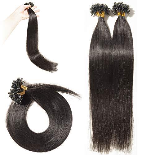 Rajout Extension Cheveux Naturel Keratine Pose a Chaud Vrai Cheveux Humain - 100 Mèches 50g (#1B Noir Naturel, 20\