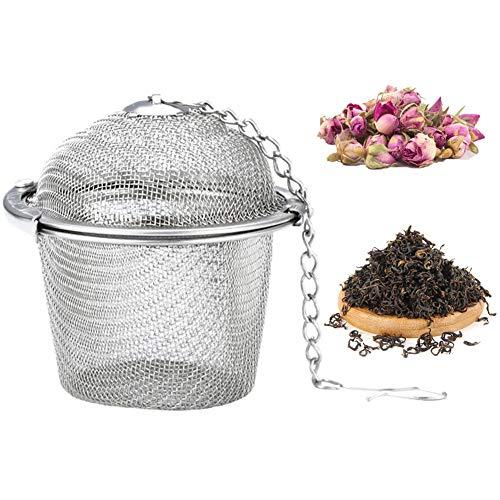 Teesieb Teeei, Teekugeln aus Edelstahl mit Haken-Kette, Teefilter Tee-Filter mit verlängertem Kettenhaken für die Meisten Tassen und Teekannen