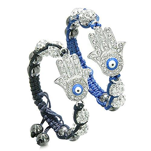 Magic Evil Eye Protection Love Couples Best Friends Hamsa Hands Amulets Royal Blue and Black Bracelets