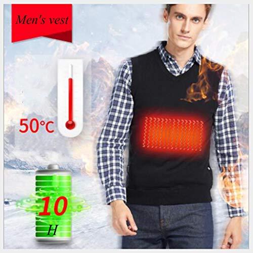 Heren vest, koolstofvezel zijde verwarmd jasje, USB Beveiliging Smart oplaadbaar, zwart, winter kleren, S, M, L, XL, XXL (Color : Black, Size : M)