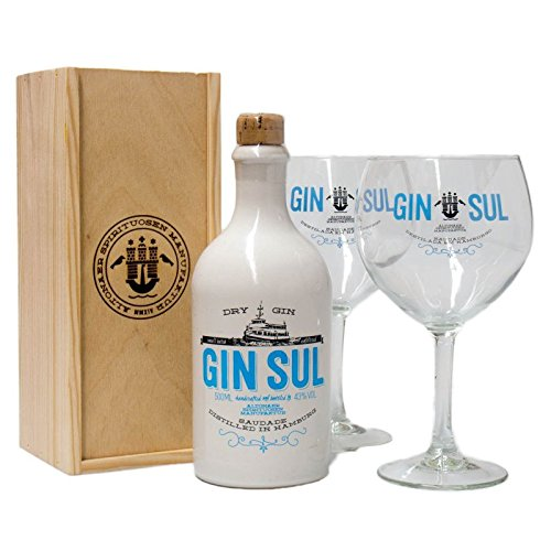 Gin Sul Dry Gin + Holzbox + 2 Gläser (1 x 0,5 l)