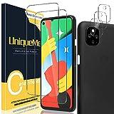 UniqueMe [2 Pack] Protector de Pantalla para Google Pixel 4a 5G 6,2 Pulgada [No aplica para Google Pixel 4A]+ [3 Pack] Protector de Lente de cámara, Vidrio Templado [9H Dureza] HD Cristal Templado