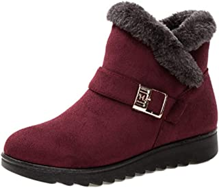 Fulision Female Leisure Snow Boots Solid Color Buckle Soft Non-Slip Rubber Bottom Cotton Shoes with Side Zipper