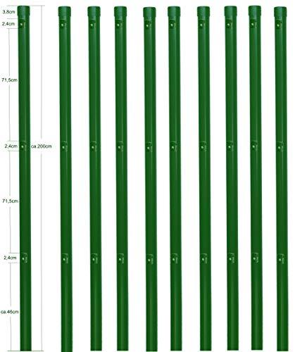 10 Zaunpfosten Ø 34 mm Zaunpfahl 2000mm lang als Pfosten für 1,5m hohen Metallzaun aus Maschendraht in grün RAL 6005. Zaunpfahl zum einbetonieren, mit 3 Halter für Spanndraht und Pfosten Kappe.