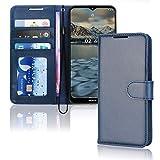 TECHGEAR Leder Hülle Nokia 2.4 - PU Leder Flip Hülle Schutzhülle Ledertasche [Brieftasche] Handyhülle mit Ständer & Handschlaufe Beutel kompatibel mit Nokia 2.4 - Blau