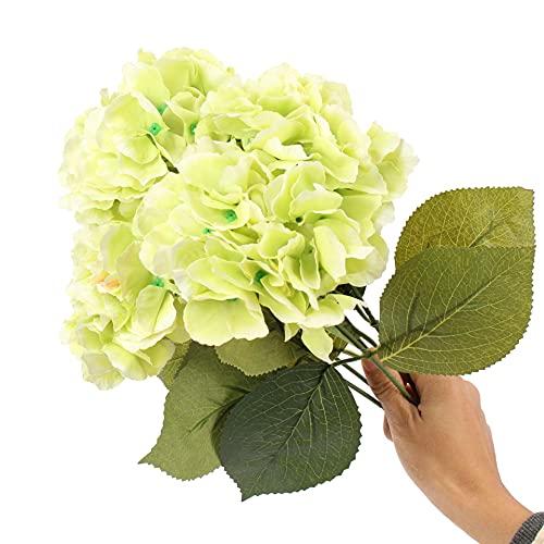SHOWWE 2 racimos de flores de simulación de hortensias, 5 puntas, hortensias de Mallorca, ramos frescos y simples, flores falsas para el hogar, boda, decoración 45 cm (verde)