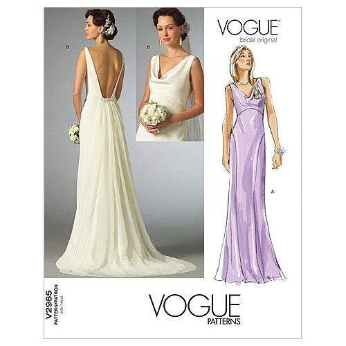Vogue Patrón de costura 2965 para vestido de novia de mujer, talla...