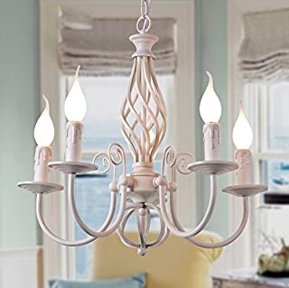 White Candle Light Simple European Iron Chandelier