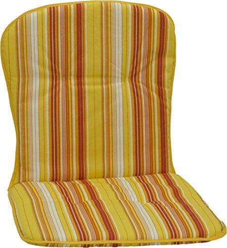 Beo Silla de jardín Cojines Ribete–Fregadero para Baja Sillas apilables Rayas, Aprox. 80x 44x 2,5cm, Amarillo/Naranja/Blanco/Multicolor
