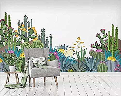 Wohnzimmer Wandbilder Hintergrund Wand 3D Wallpaper Wandaufkleber Tropical Jungle Cactus Flower Wallpaper Tapete wandpapier fototapete 3d effekt tapeten Wohnzimmer Schlafzimmer-400cm×280cm