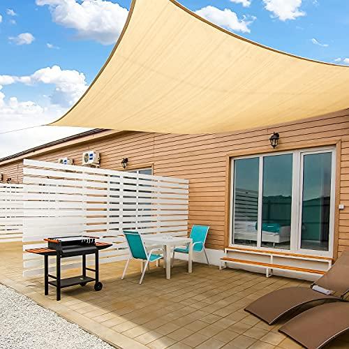 KMM Sun Shade Sail Rectangle 10'x 13', 185GSM Shade Sail UV Block Canopy Awning for Patio Backyard Lawn Garden Outdoor Activities, Sand Beige