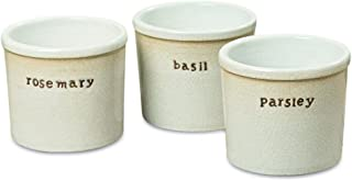 Whole House Worlds Farmer's Market Herb Planters, Set of 3, Parsley, Rosemary, Basil, Rustic White, Crackle Glaze, 5 Inches, Country Rustic Kitchen, Counter Top, Vases