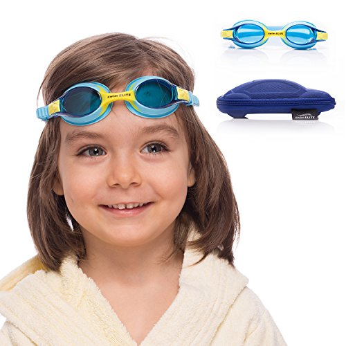 Kids Swim Goggles   Swimming Goggles for Kids Age 2-8 with Fun Car Hardcase (Blue)