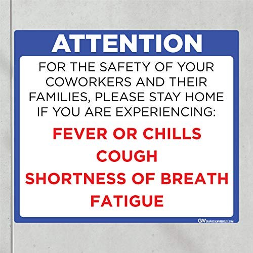 'Do Not Enter Office with Symptoms' COVID-19 (CORONAVIRUS) Adhesive Durable Vinyl Decal- (Various Sizes Available) Sign by Graphical Warehouse- Safety and Security Signage (14x12', Blue)