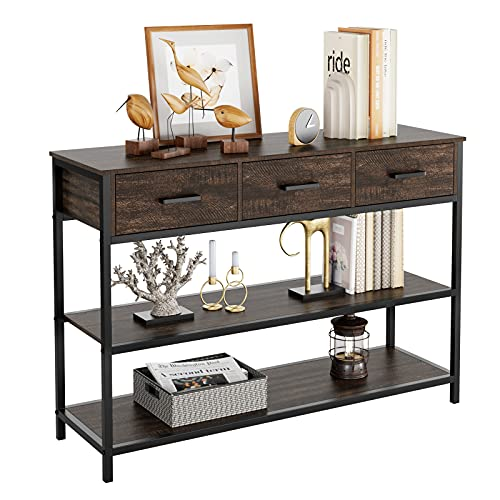 HIFORT Console Sofa Table with Drawers, 3-Tier Industrial TV Stand with Open Storage Shelves, Narrow Entry Table Hallway Entryway Table for Living Room, Sturdy Metal Frame, Espresso Brown
