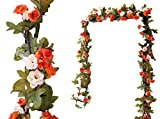 LNHOMY 2 Pack 16FT Artificial Rose Vine Flowers Fake Garland Ivy Flowers Silk Hanging Garland Plants for Home Wedding Party Decorations, (Orange &Champagne )