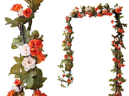 LNHOMY 2 Pack 16FT Artificial Rose Vine Flowers Fake Garland Ivy Flowers Silk Hanging Garland Plants for Home Wedding Party Decorations, (Orange &Champagne)