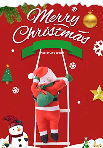Jhua 4 Santa Claus Climbing on Rope Ladder Decoration for Christmas Tree, Indoor Outdoor Hanging Ornament Decor Christmas Party Home Door Wall Decoration Toy Gift, 47 Inch