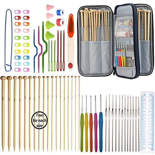 KOKNIT Knitting Needles Set, Included Single Pointed Bamboo Knitting Needles, Crochet Hooks with Ergonomic Handles, and 12PCS Lace Crochet Hook, Crochet Case for Any Project (Set of 91 Knitting Kits)