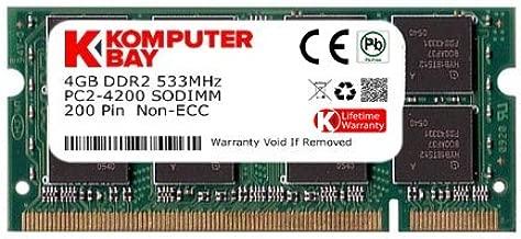 Komputerbay 4GB DDR2 533MHz PC2-4200 PC2-4300 DDR2 533 (200 PIN) SODIMM Laptop Memory