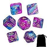 Dados Poliédricos,7 Piezas Juegos de Mesa Dados para Colores Juegos de rol para Aazmorras y Dragones MTG RPG DND con Bolsa Negra